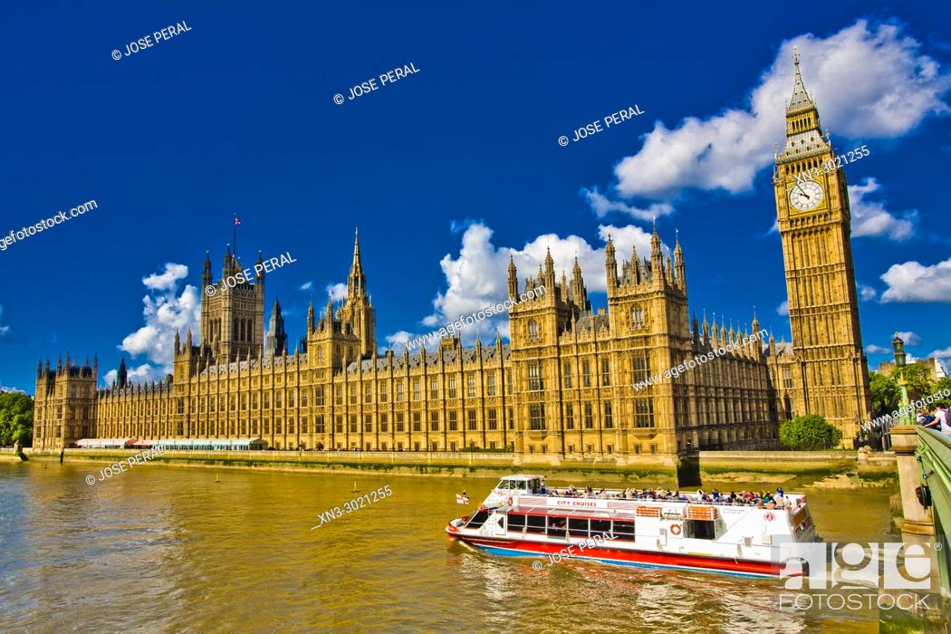 Stock Photo: Cruise ship, tourist boat, Elizabeth Tower, Big Ben, Clock tower, Houses of Parliament, Palace of Westminster, Westminster Bridge, City of Westminster.