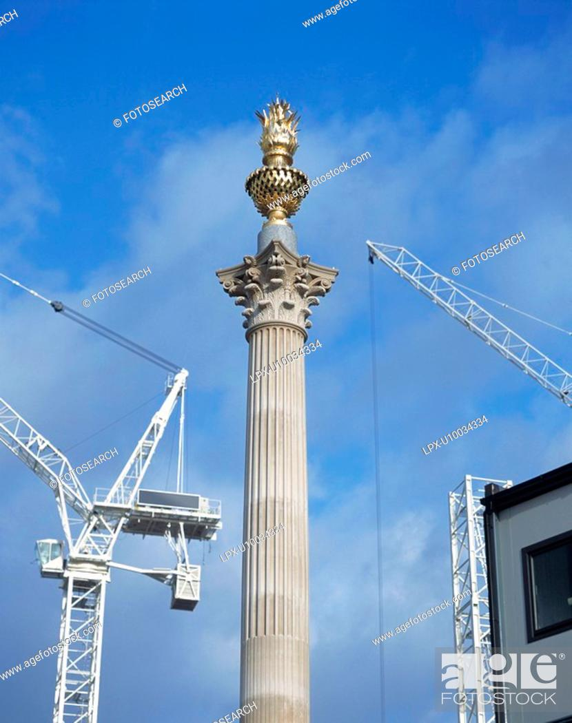 Stock Photo: Paternoster Square under construction with new column, City of London,.