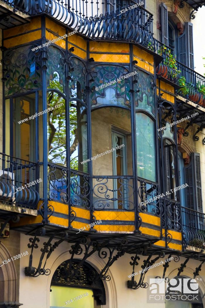 Stock Photo: Modernist Balcony in Casa Ramon Oller, Catalan Art Nouveau. Builded in 1871 by Eduard Fontseré and reformed in 1901 by Pau Salvat i Espasa.