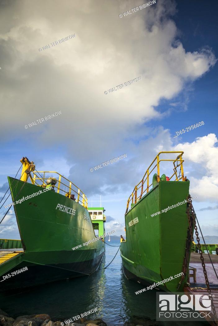 Stock Photo: British Virgin Islands, Virgin Gorda, Spanish Town, inter-island cargo ship in port.