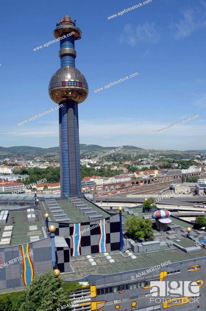 Stock Photo: Spittelau garbage incinerator and heating plant (architect: Friedensreich Hundertwasser). Vienna. Austria.