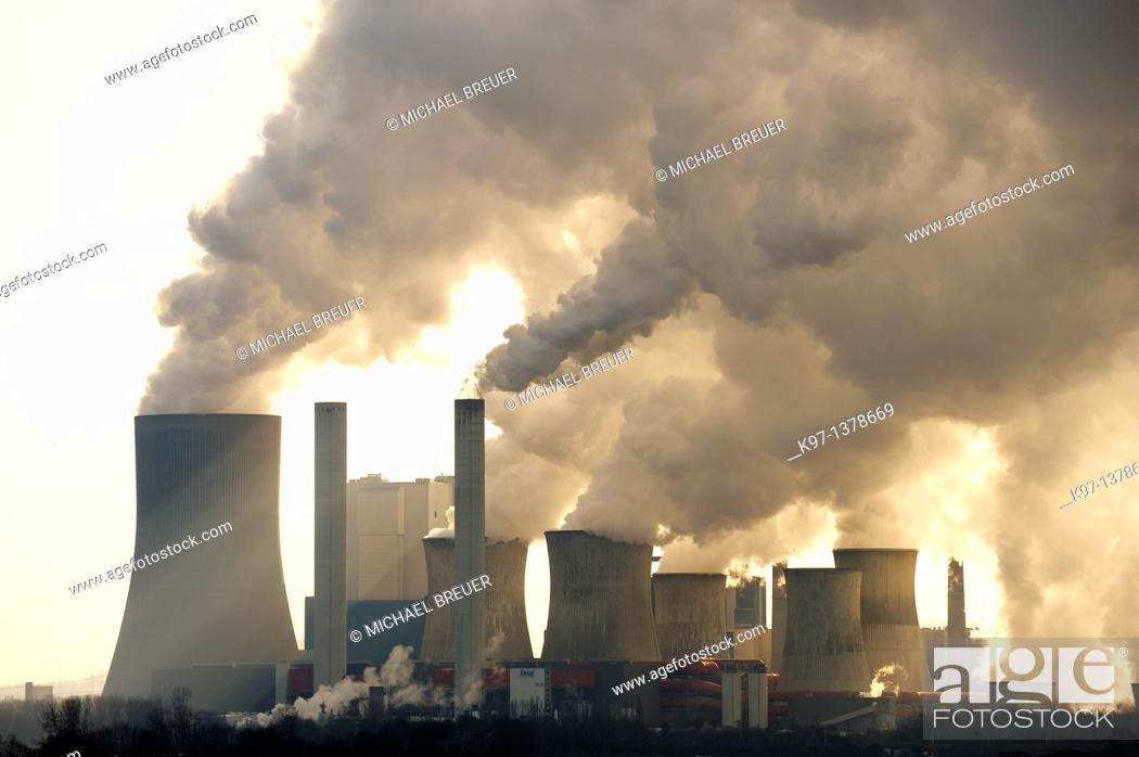 Stock Photo: Coal fired power station, Niederaussem, North Rhine-Westphalia, Germany, Europe.