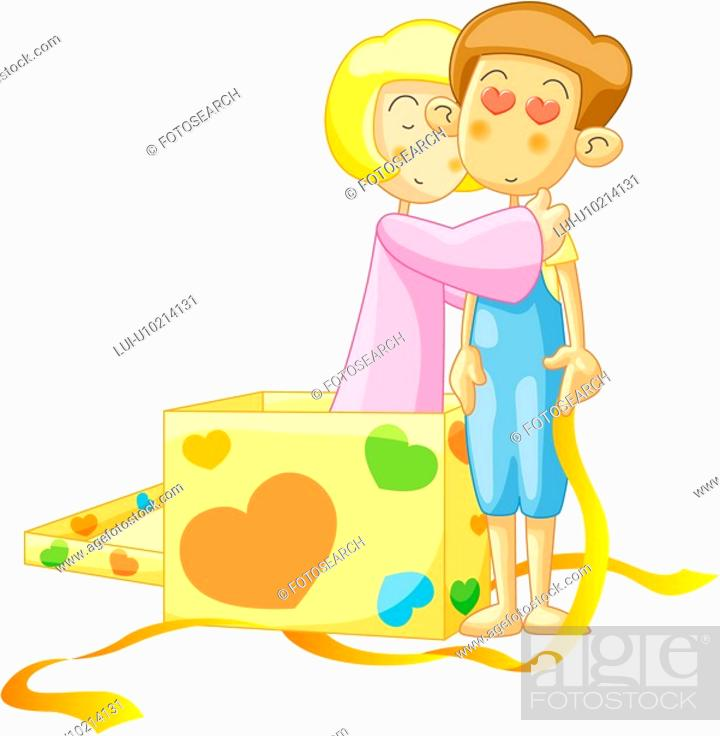 Stock Photo: girl, gift, boy, heart, embrace, event.