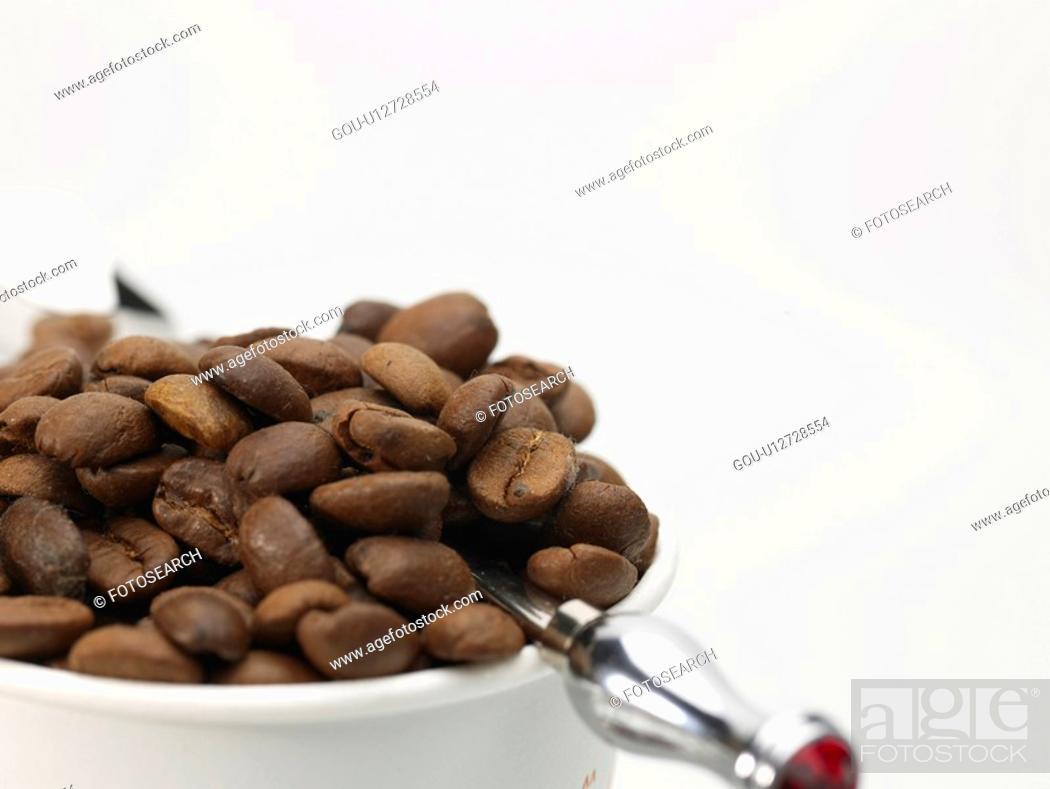 Stock Photo: artifact, coffee bean, teaspoon, paper cup, coffee, food, object.