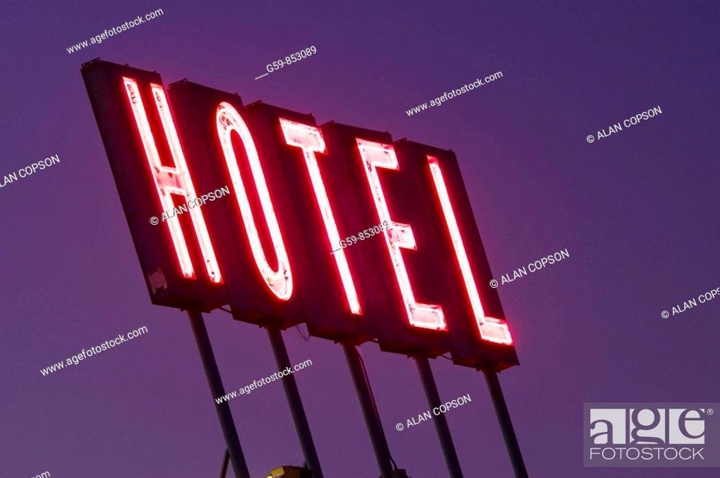 Stock Photo: USA, Colorado, Denver, Hotel sign.