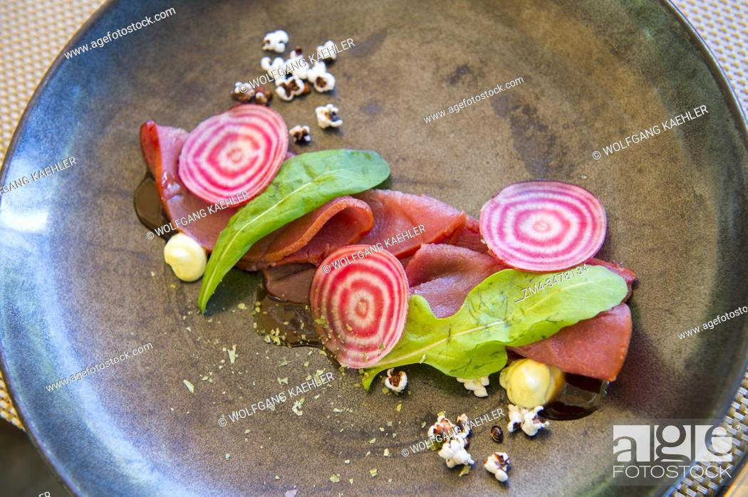 Stock Photo: Springbok Carpaccio at the La Petite Ferme, (restaurant and luxurious accommodations) in the Franschhoek Valley, Stellenbosch region.