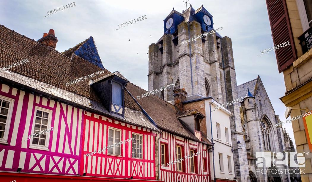 Stock Photo: The Church of Notre-Dame de Louviers, dominates the surrounding buildings in Louviers, Normandy, France.