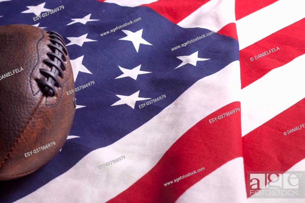 Imagen: Football on USA flag, freedom country symbol of liberty.