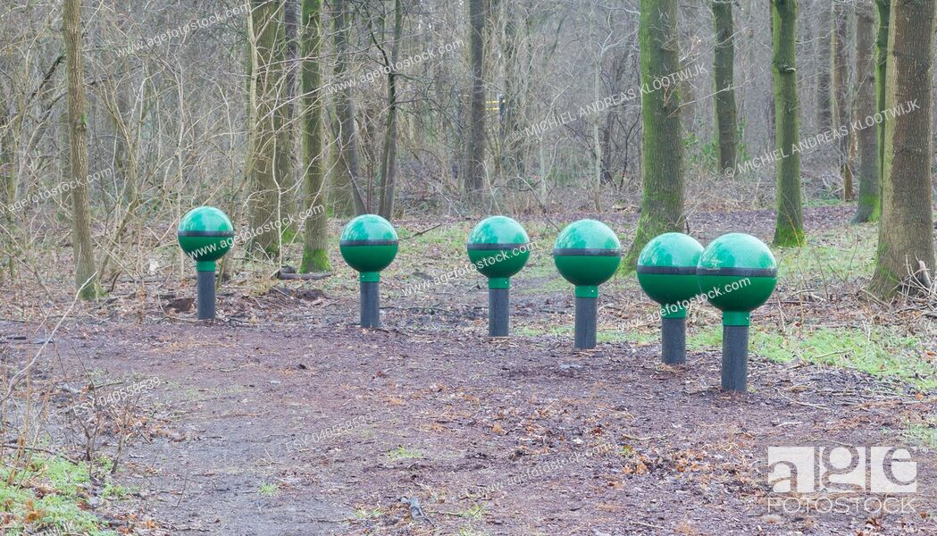 Stock Photo: Fitness equipment in a forest - One stage of many - Netherlands.