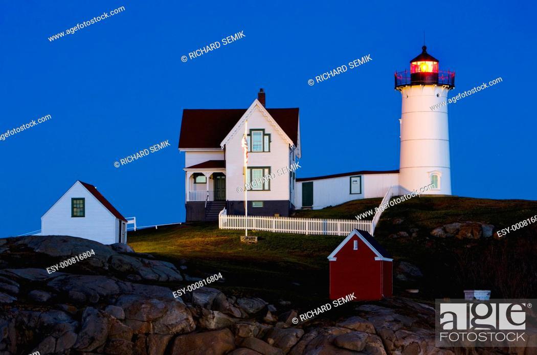 Stock Photo: Nubble Lighthouse, Cape Neddick, Maine, USA.