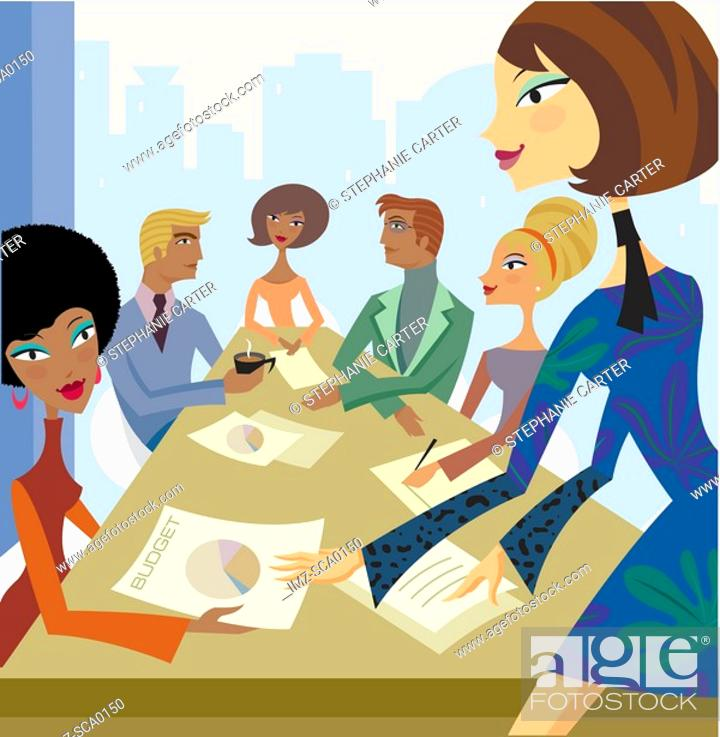 Stock Photo: A group of busniess people in a meeting room.