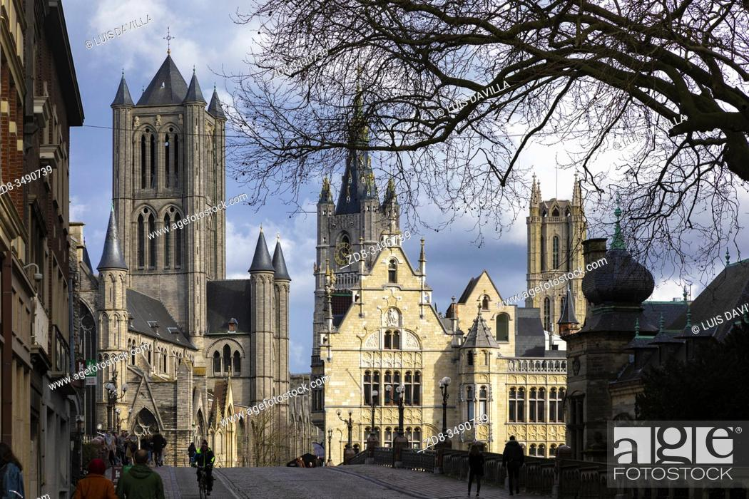 Imagen: The tree towers from the St. Michael's bridge. St. Nichola's cathedral, the belfort tower bell and St. Bavon Cathedral. Ghent. Belgium.