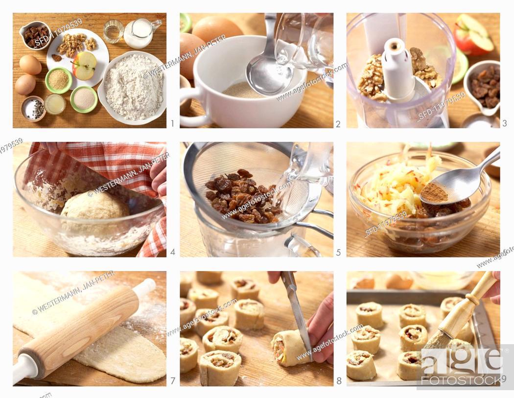 Stock Photo: Raisin buns being made.