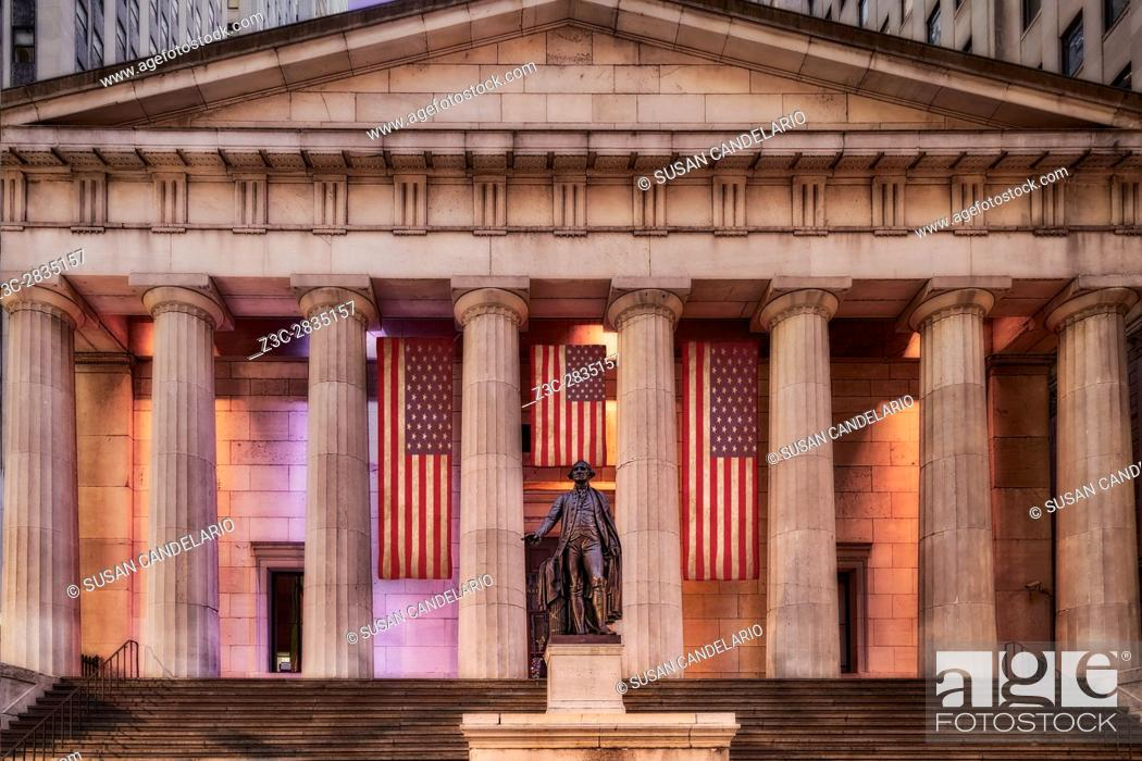 Stock Photo: Federal Hall National Memorial NYSE - Front view to the main entrance to Federal Hall at Wall Street in lower Manhattan, New York City.
