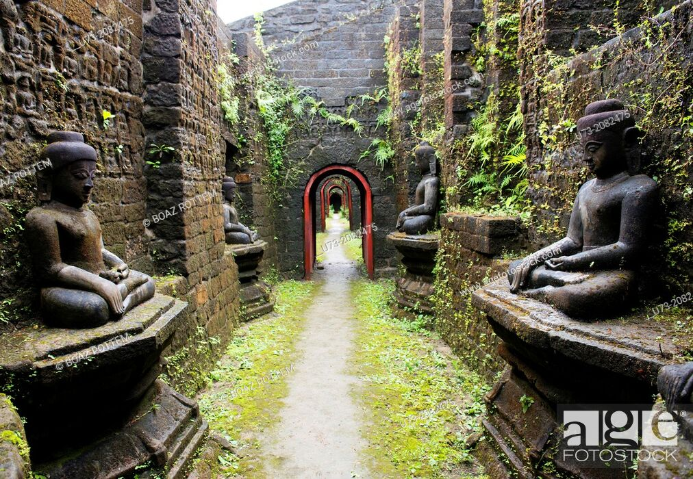 Stock Photo: The beautiful old temples of Mrauk U in western Myanmar.