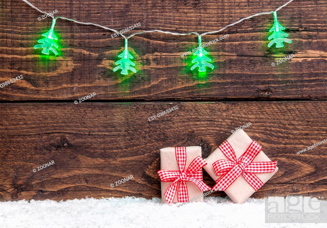 Stock Photo: Traditional Christmas decoration on wooden background with copy space.