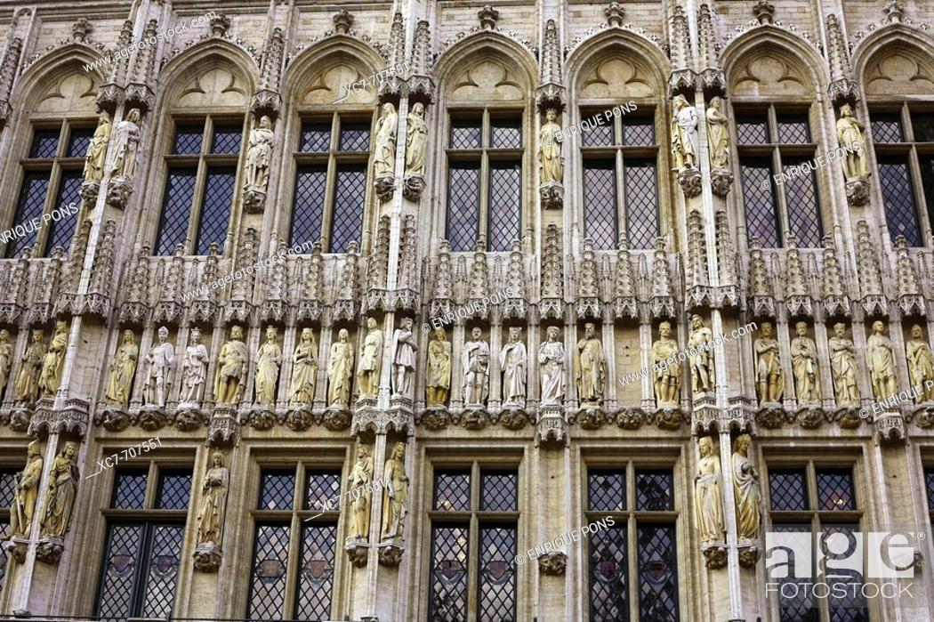 Stock Photo: Detail of Town Hall façade in the Grand Place, Brussels. Belgium.