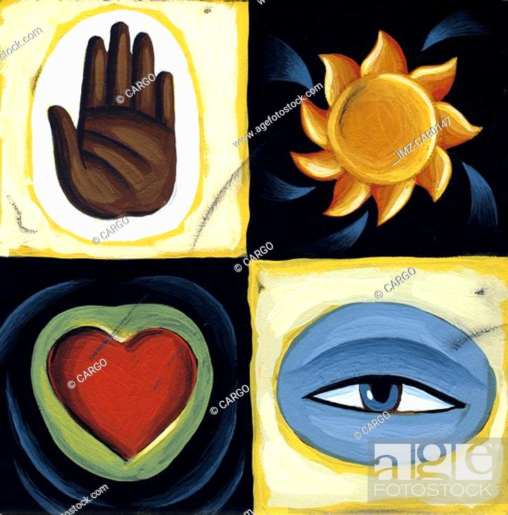 Stock Photo: Collage of a hand, the sun, an eye, and a heart.
