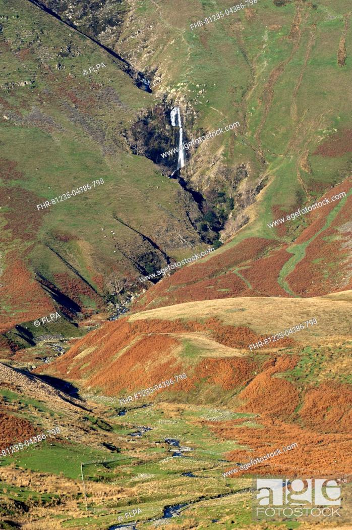 Stock Photo: View of fell valley with waterfall in distance, Cautley Crag and Yarlside with Cautley Spout inbetween, Sedbergh, Howgill Fells, Cumbria, England, November.