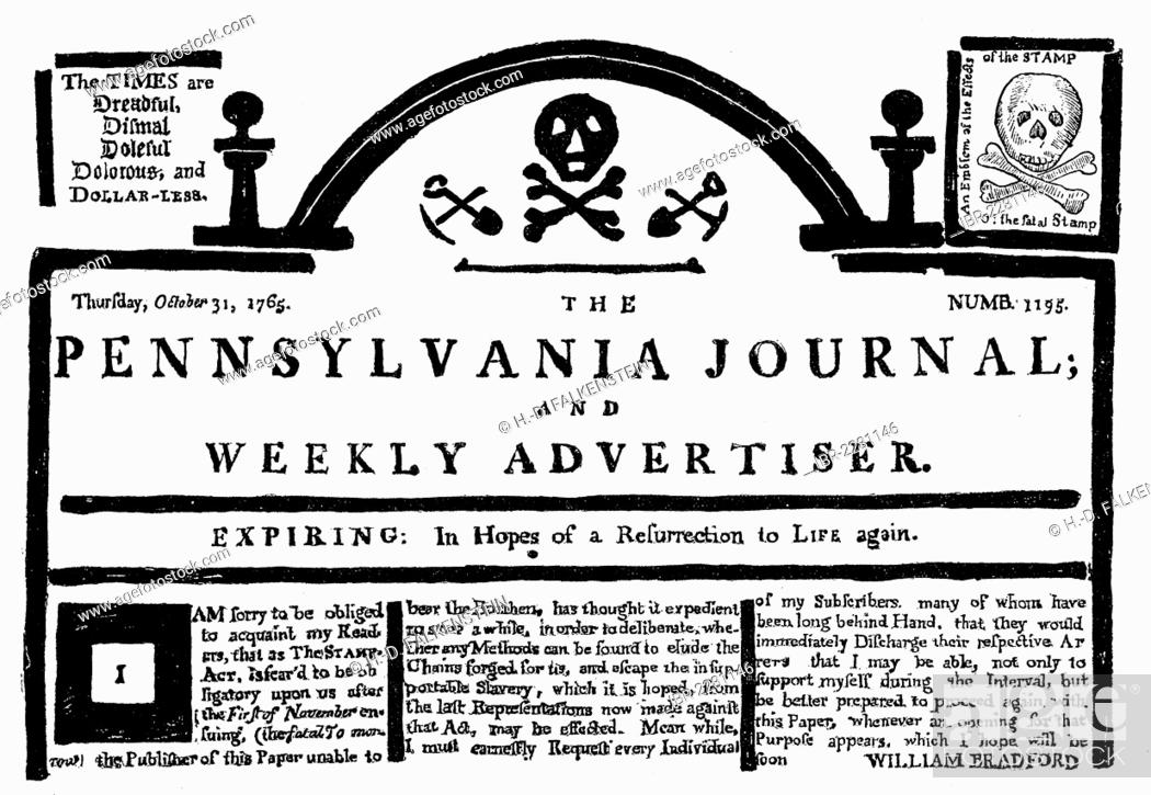Imagen: Historical print, US-American history, 18th century, facsimile, reaction in the Pennsylvania Journal on the British Stamp Act in the North American colonies.