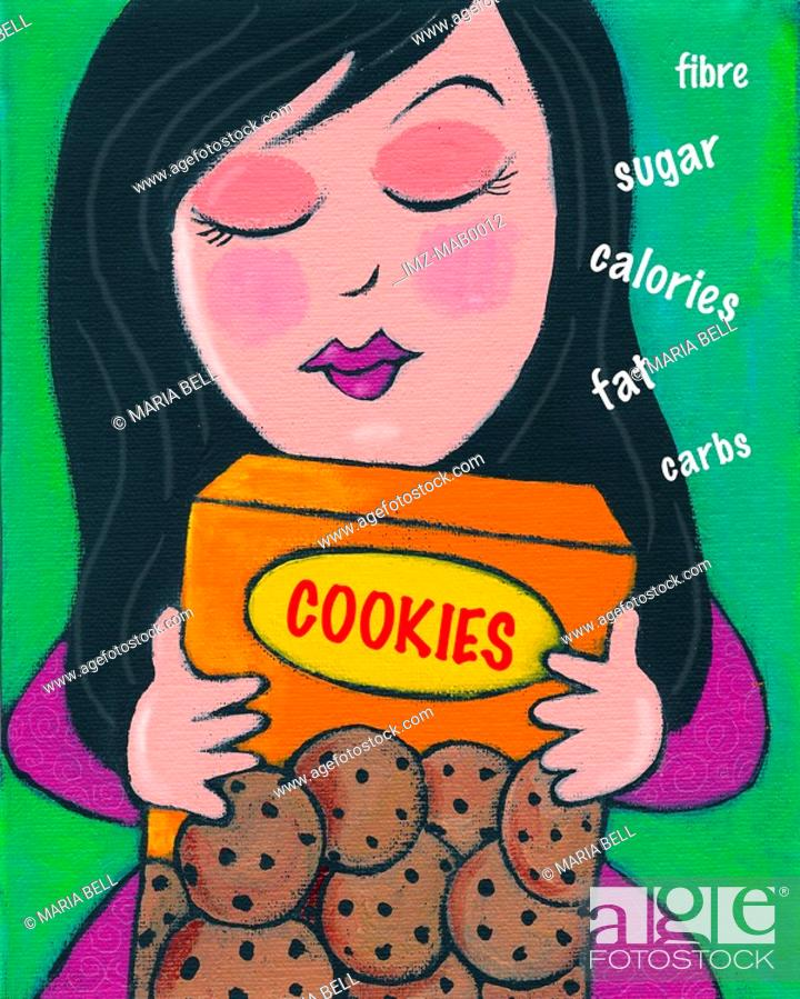 Stock Photo: A woman reading the nutritional information on a box of cookies.