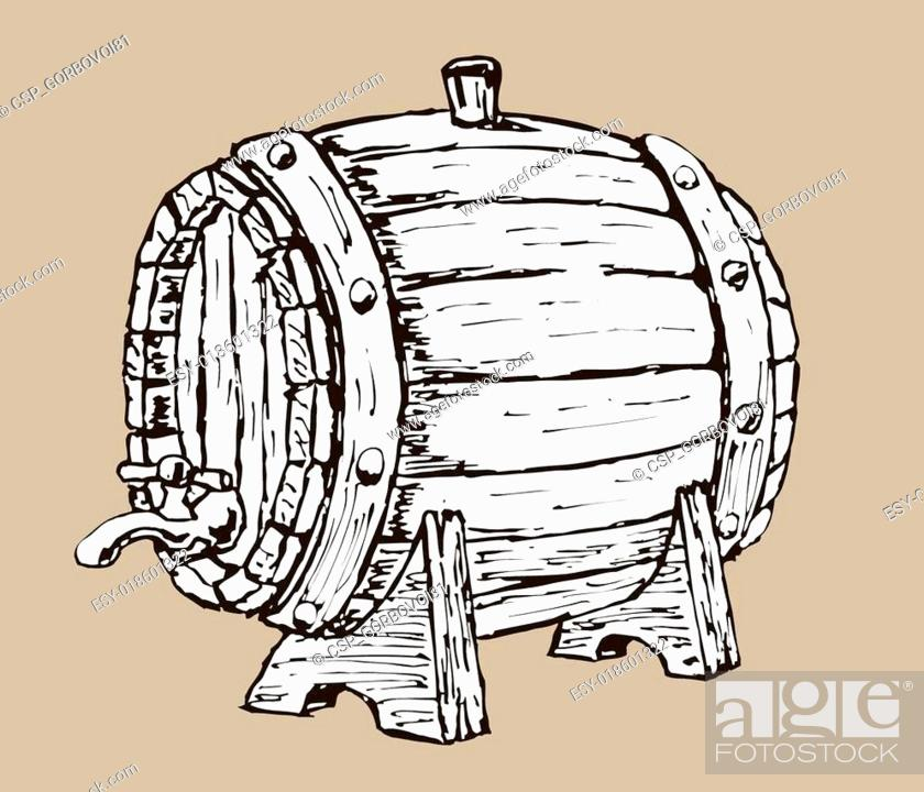 Stock Vector: wooden barrel.