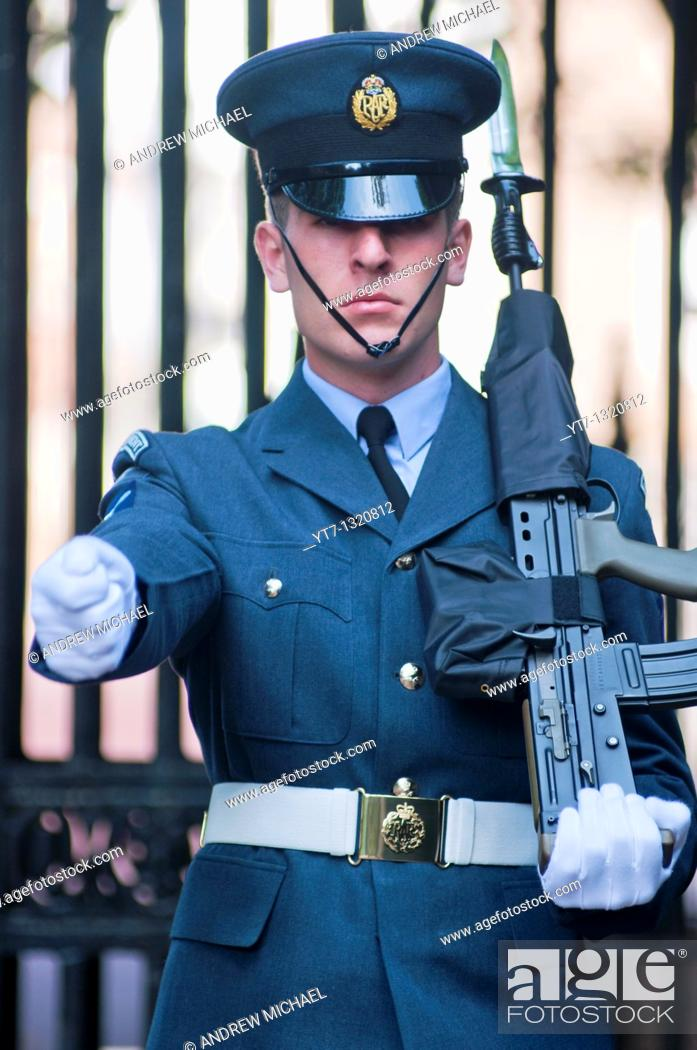Stock Photo: RAF guardsman marching at the Mall in London, UK.