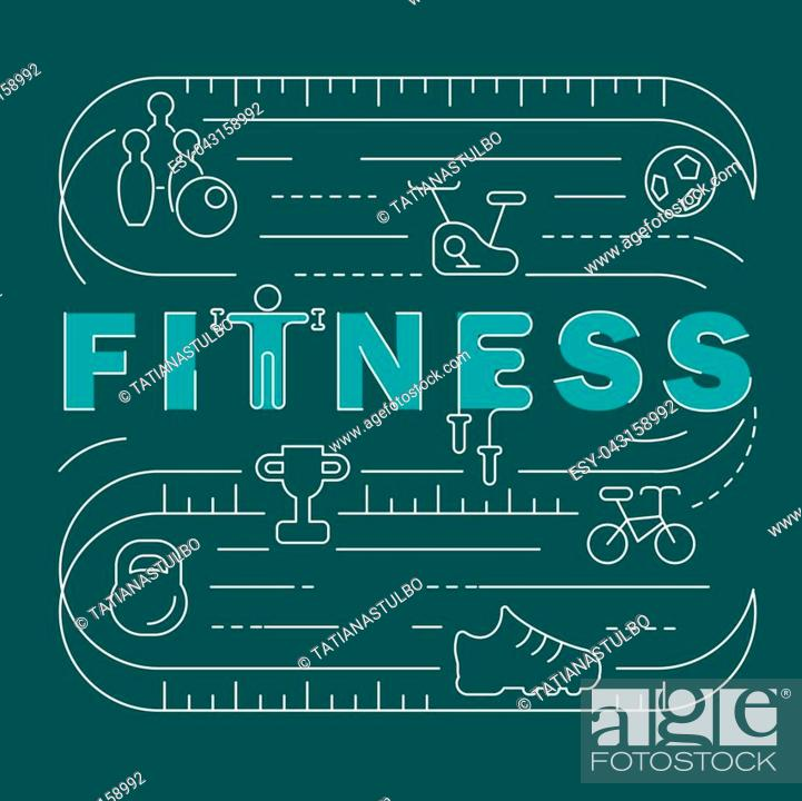 Stock Vector: Fitness club banner. Modern thin line icons set of gym equipment, sports recreation activity. Simple symbol collection. Vector logotype concept for web graphics.