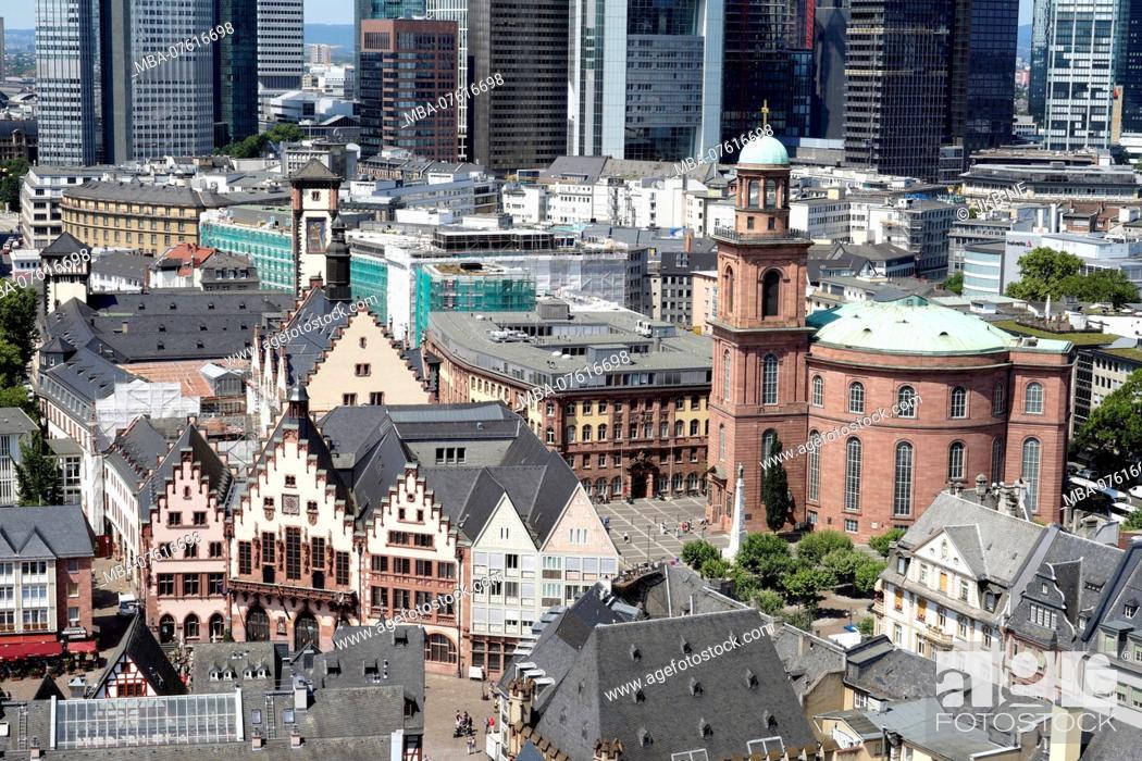 Stock Photo: Germany, Hesse, Frankfurt on the Main, city center, Römer, St. Paul's Church, behind financial district.
