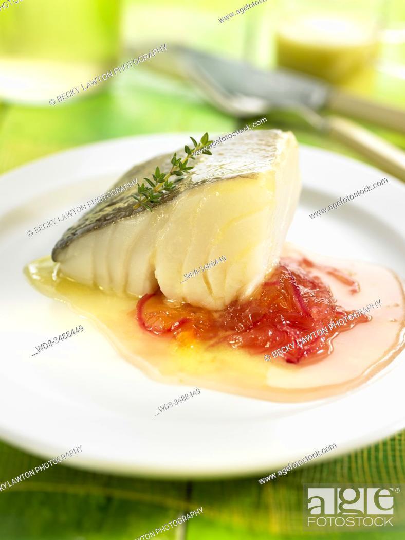 Stock Photo: bacalao con chutney / cod with chutney.