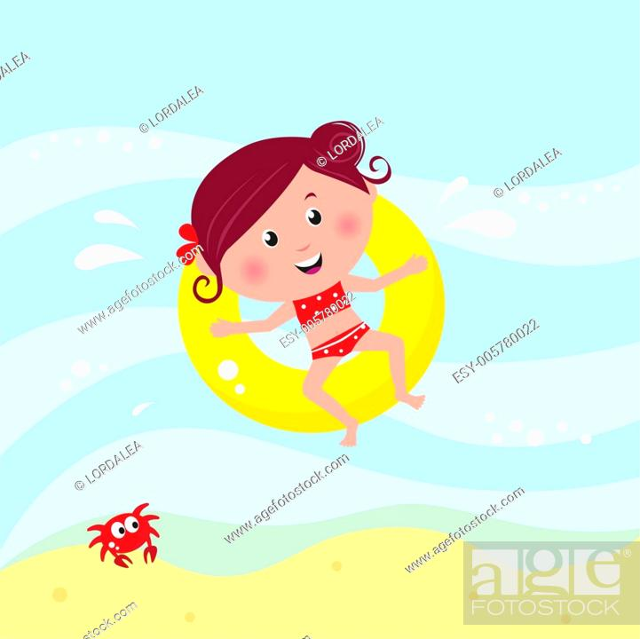 Stock Vector: Illustration of cute smiling girl swimming in the sea near beach.