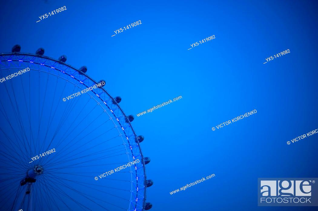 Stock Photo: London Eye at night.