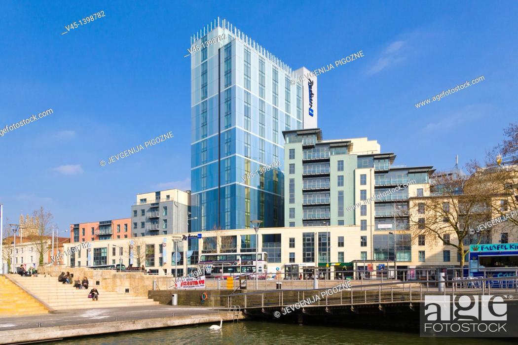 Stock Photo: Radisson BLU Hotel at Broad Quay and The Centre promenade, Bristol, Gloucestershire, England, UK.