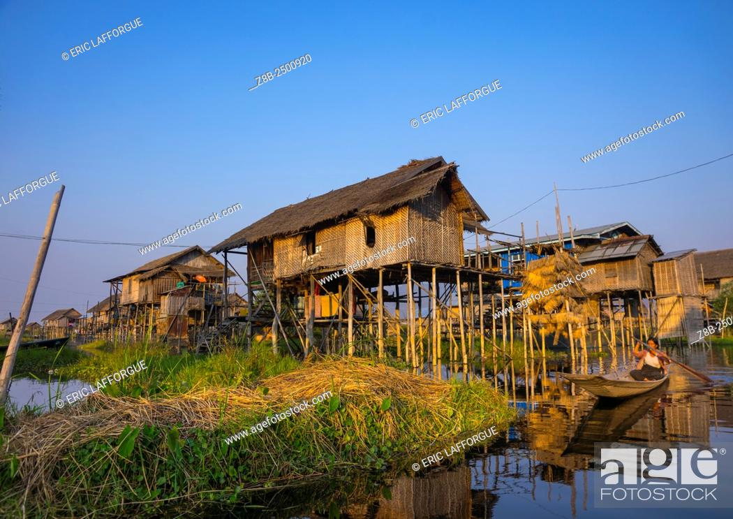 Stock Photo: Typical House On Stilts, Inle Lake, Myanmar.