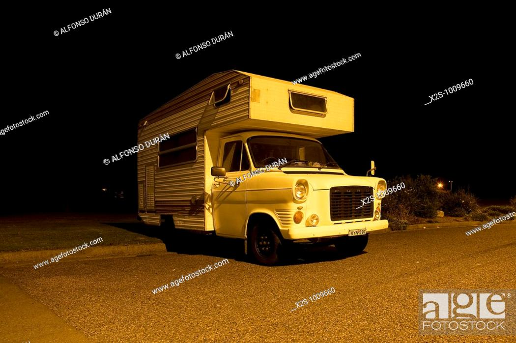Stock Photo: Classical autocaravan in Australia.