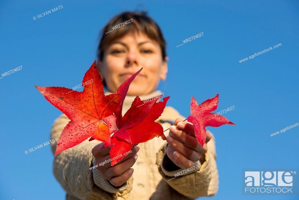 Stock Photo: Happy woman holding red leaf.