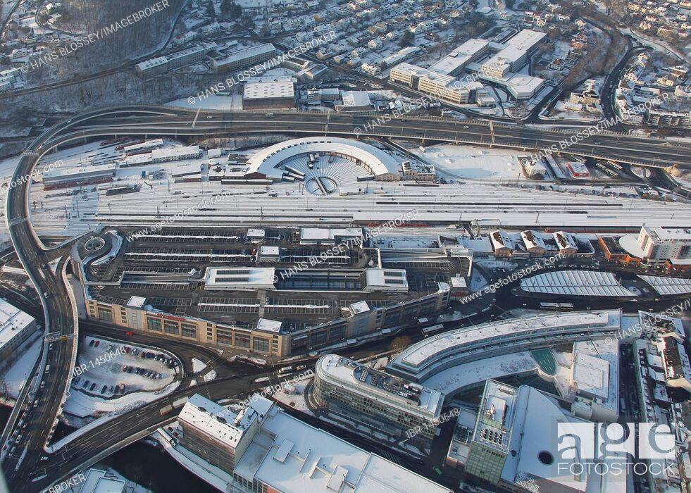 Imagen: Aerial photo, Siegen in the snow in winter, Sauerland, North Rhine-Westphalia, Germany, Europe.