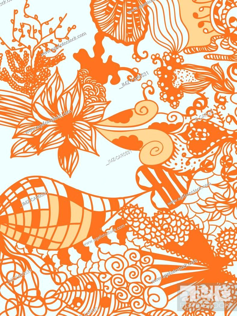 Stock Photo: A whimsical orange and blue floral illustration background.