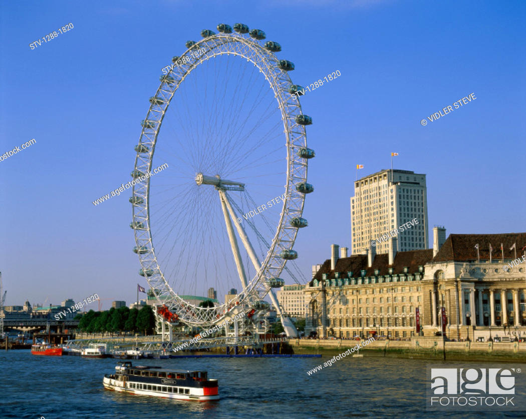 Stock Photo: Amusement, Amusement park, Boat, England, United Kingdom, Great Britain, Europe, Ferris wheel, Holiday, Landmark, London, London.