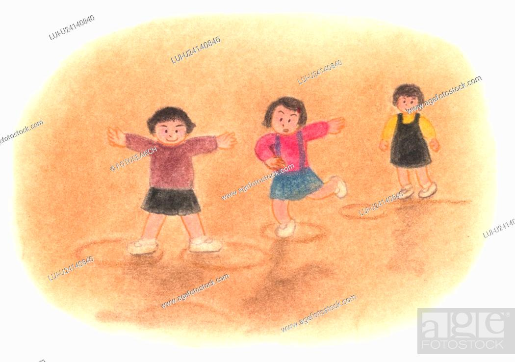 Stock Photo: Girls playing with drawn rings on the ground, Illustration.