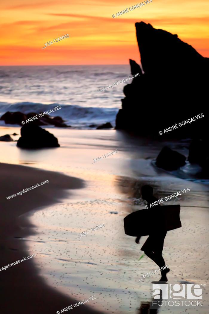 Stock Photo: Adraga Beach in Sintra Natural Park, Portugal.