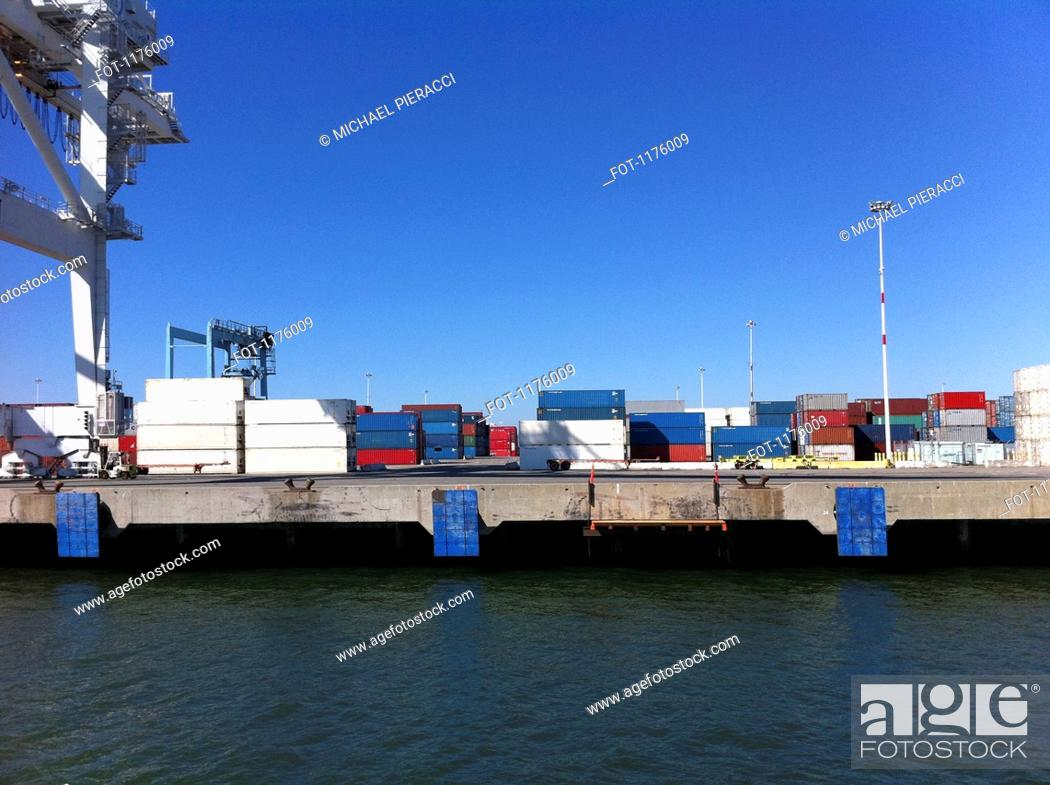 Stock Photo: Cargo containers at Port of Oakland, California, USA.