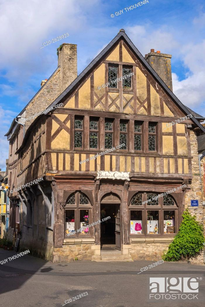 Stock Photo: Touristic shop in half timbered medieval house, Treguier, 22, Brittany, Cotes d'Armor, France.