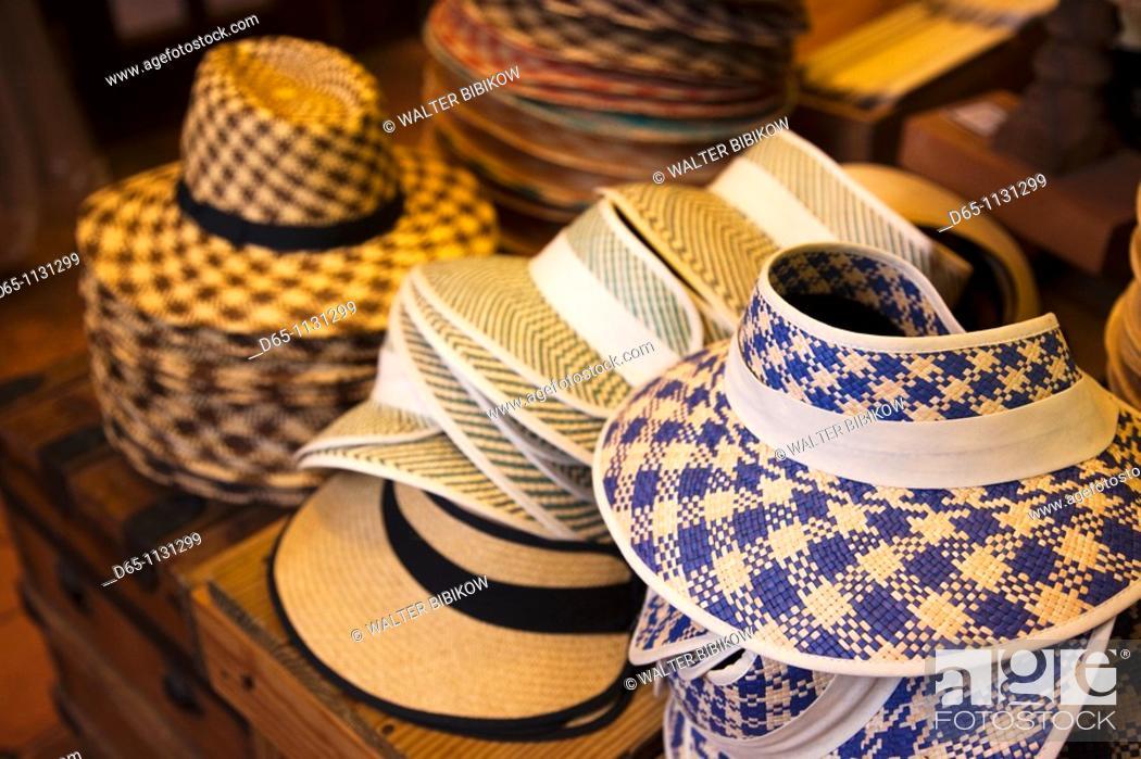 Stock Photo: Puerto Rico, San Juan, Old San Juan, straw hats.