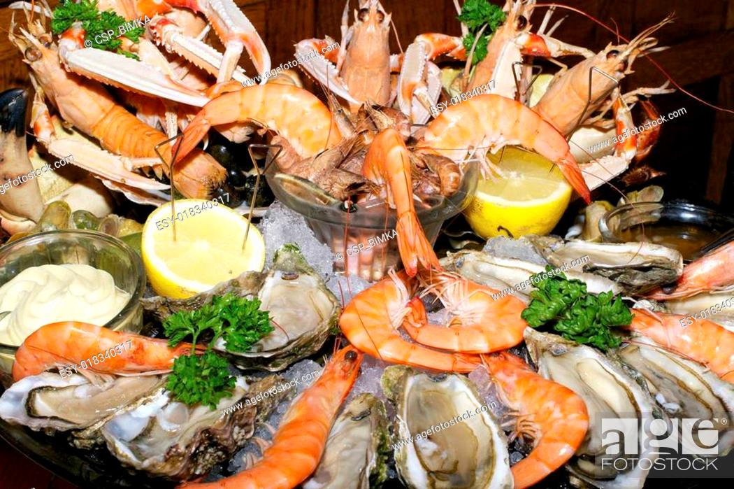 Stock Photo: assorted seafood.