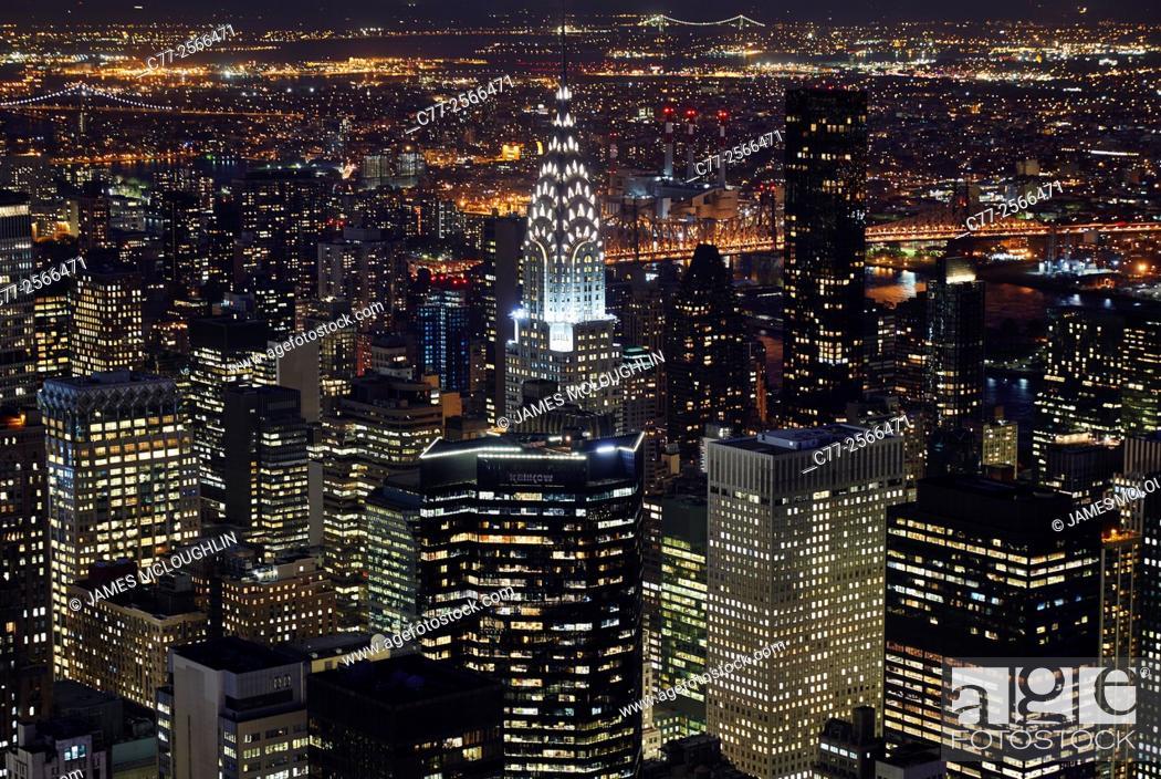 Imagen: New York City, Manhattan, Skyline, Night, Chrysler Building.