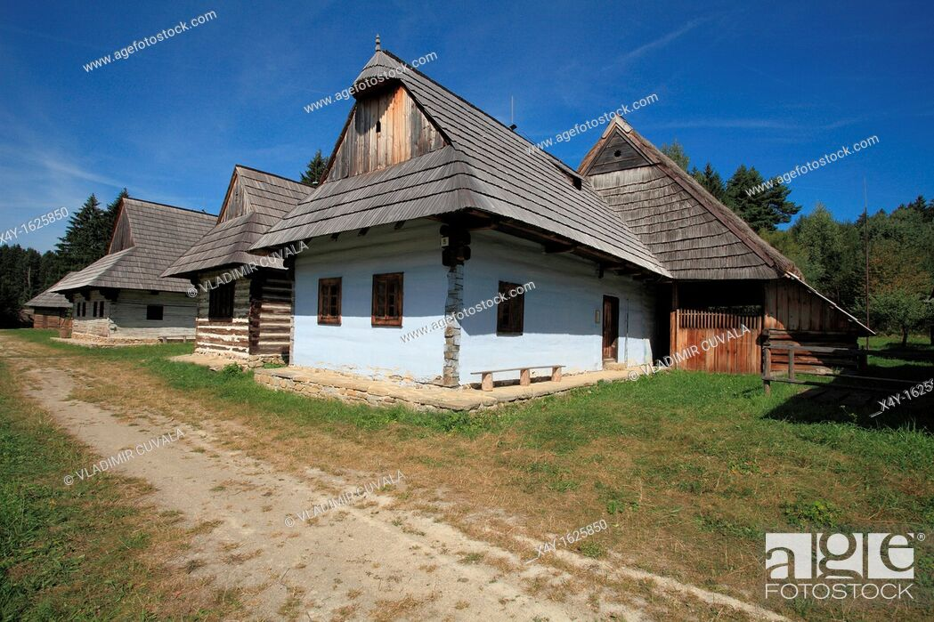 Stock Photo: Traditional architecture displayed at the Open air Museum of Slovak Village in Martin, Slovakia.