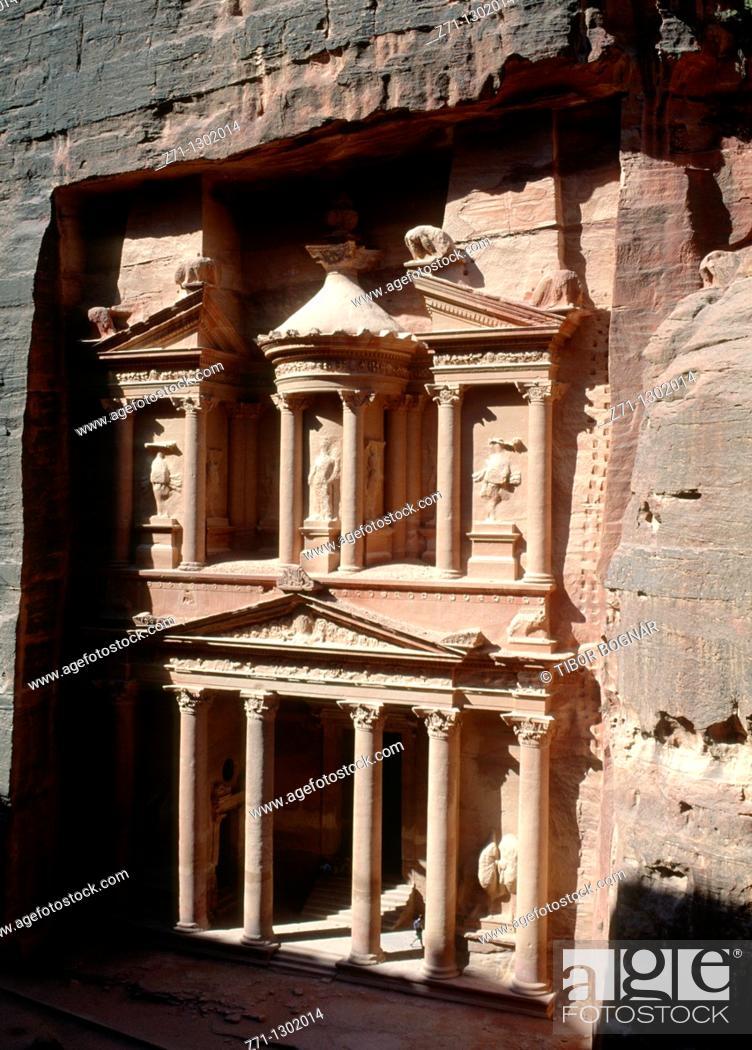 Stock Photo: Jordan, Petra, Treasury, Al-Khazneh.