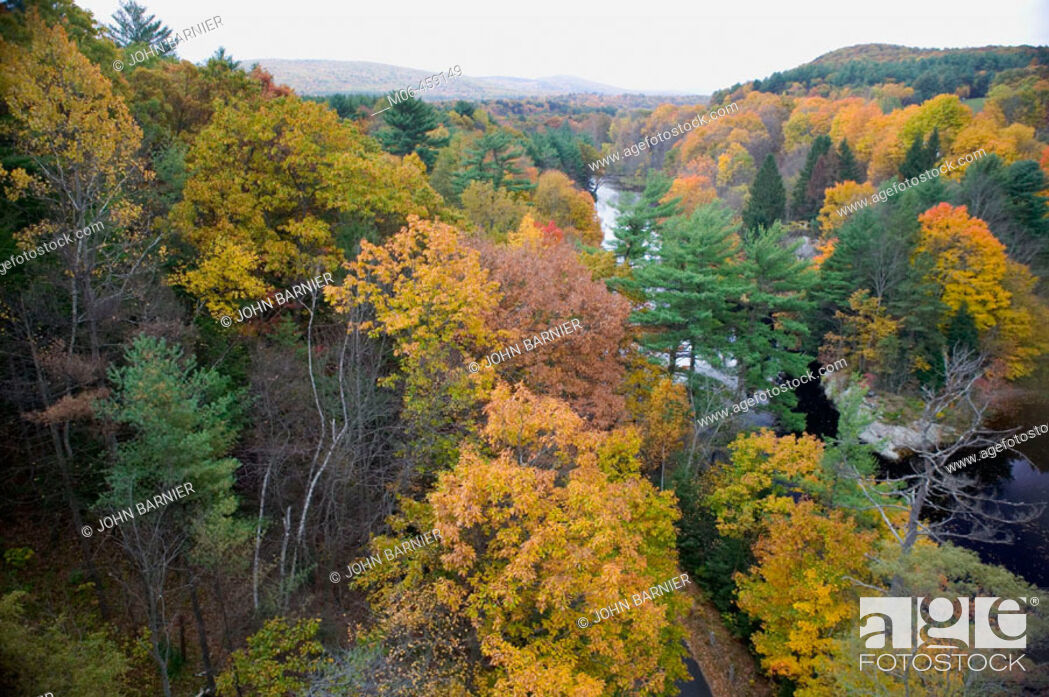 Stock Photo: Autumn Colors on the Connecticut River. A view of the Autumn landscape on the Connecticut River in Western Massachusetts. USA.