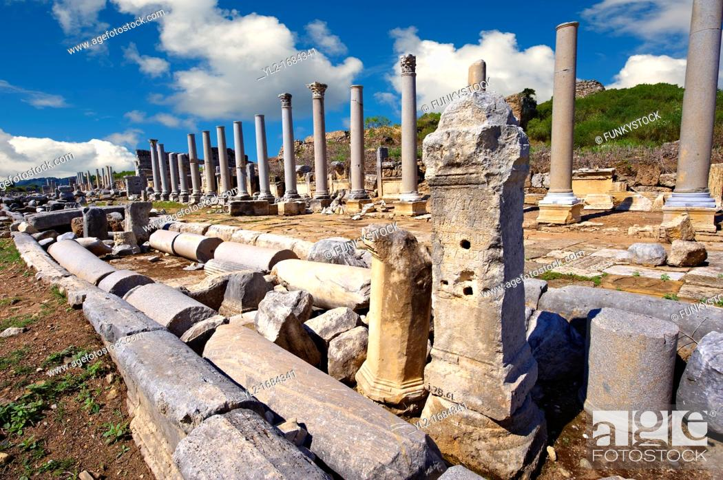 Stock Photo: Ruins of the Roman Columned street which was lined with shops & stores  Perge Perga archaeological site, Turkey.